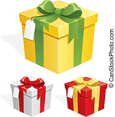Gift Box - Gift box in 3 color versions. No transparency...
