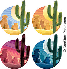 Mexican Desert - Mexican desert landscape in 4 different...