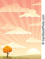 Meadow Background Autumn - Cartoon meadow background. A4...