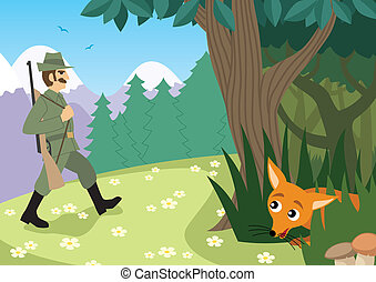Hunting Season - Hunter is going in the forest. No...