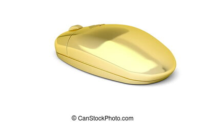 Golden wireless computer mouse rotates on white background
