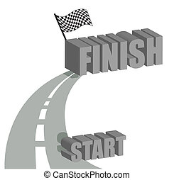 Start to finish road illustration design over white