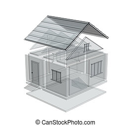 3d sketch of a house. Object over white