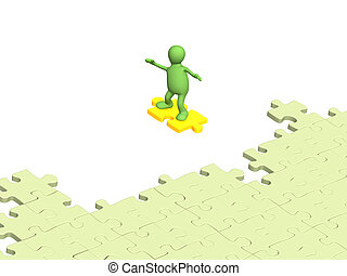 3d person puppet sliding on slice puzzle
