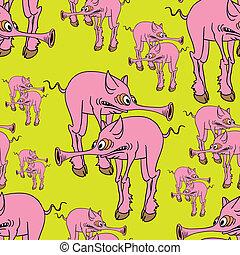 Strange pink pig. - Seamless texture. Strange pink pig.