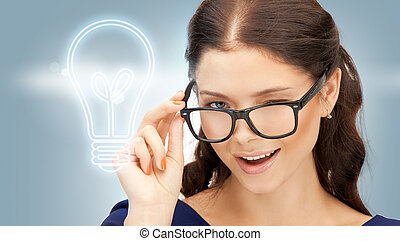 happy and smiling woman in specs - bright picture of happy...