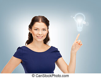 beautiful happy woman - bright studio picture of beautiful...