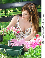 happy gardening - bright picture of lovely housewife potting...