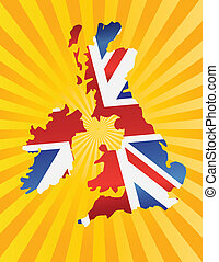 UK England Flag Map with Sun Rays - UK Great Britain Union...