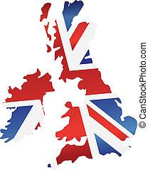 Reino Unido, inglaterra, bandera, mapa, silueta