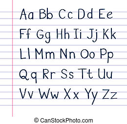 Handwritten alphabet on lined paper - A neat, handwritten...