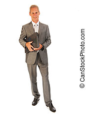 Senior business man with laptop isolated over white...