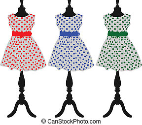 Polka dots - A set of polka dots fashion dress