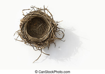 Empty nest - Empty bird nest on white background
