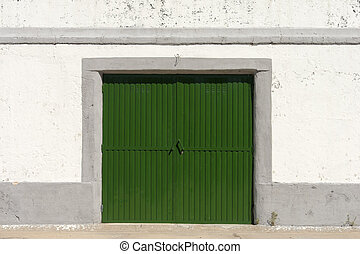 Wharehouse door - Bright green old whareouse door