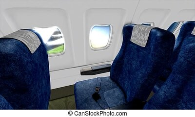 Jet plane cabin in-flight animation.