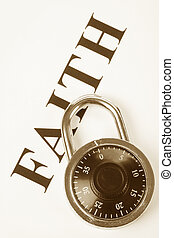 faithfulness - headline faith and lock, concept of religion...