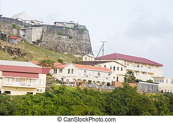 Stone Fort Over Hillside Homes - An old stone fortress...
