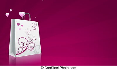 Sales Promo Background of a shopping bag and flying hearts.