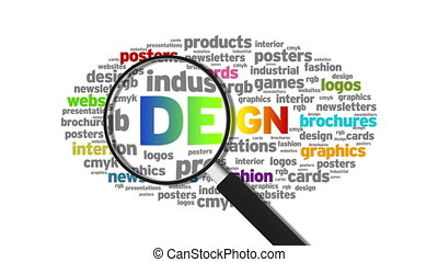 Design - Magnified Design Word Cloud Animation