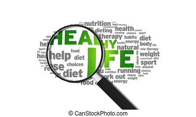 Healthy life - Magnified Healthy life Word Cloud Animation