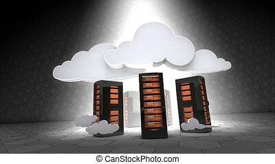 Cloud computing - Concept animation, Cloud server.