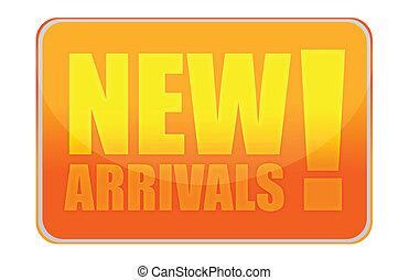 New arrivals orange sign illustration design