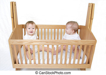 bebé, gemelos, pesebre