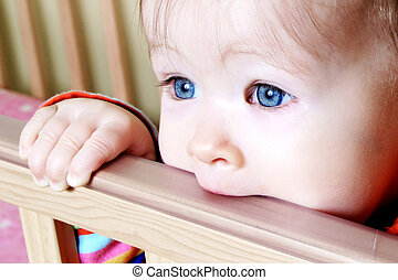 Baby In Standing In Crib - Little Baby standing in crib...