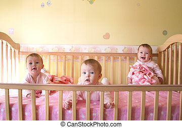 Baby Girls in Crib - Triplets - Little Baby Girls in crib...