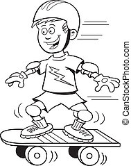 Skateboard Boy - Cartoon illustration of a boy riding a...