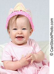 Baby Girl With Birthday Hat - Little Baby Girl in Pink dress...