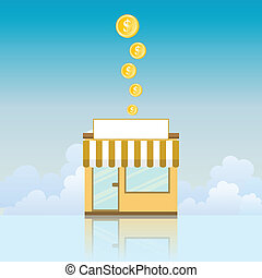 Business Investment - Vector illustration of a small store...