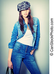 jeans lady - Shot of an attractive fashionable girl posing...