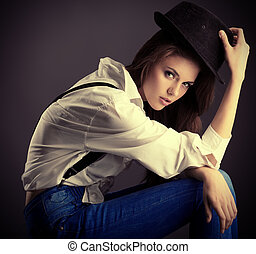 hallow - Shot of an attractive fashionable girl posing in...
