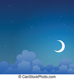 Good Night - Vector background of a night scene in the sky