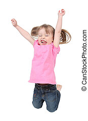 Adorable little girl isolated Jumping in Air on white...