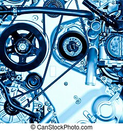 car engine part close up