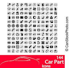 Car part icons set Vector Illustration EPS8