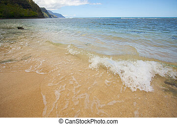 Gentle Wave on the beach - Waves on the Napali Shoreline,...
