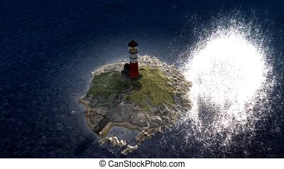 Light house island - Lighthouse island day and night view