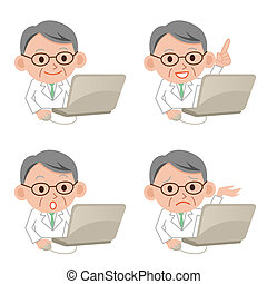 Serious doctor and computer - Serious doctor working with a...
