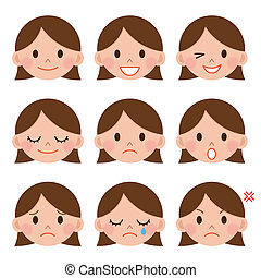 A young girl emotions - joy, sadness, hurt, shock, joy,...