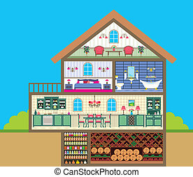 House in a cut - Vector illustration. It is created in the...