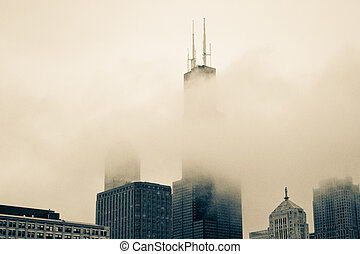 Fog obscuring the Willis Tower - Fog rolling through...