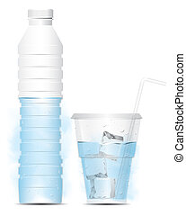 Vector bottle of water with glass