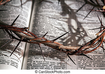 This is a crown of thorns on the Bible