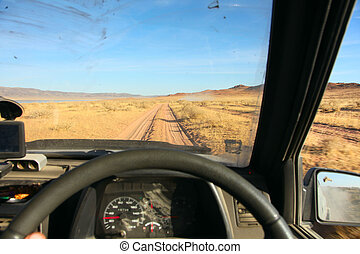 View of the desert Gobbi of the car