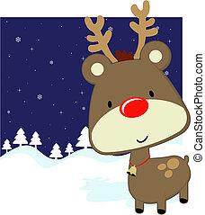 cute baby deer winter background - cute baby deer with red...