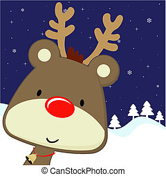rudolph greeting card christmas - cute baby deer with red...